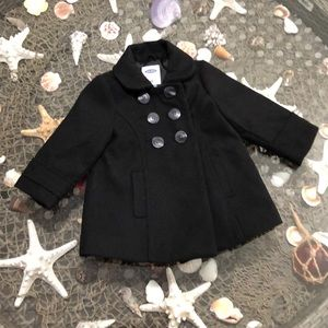 Old navy lined wool pea coat 12-18 months